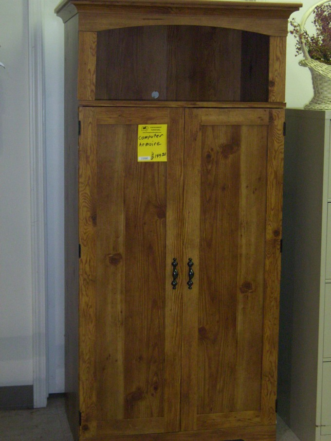 Pine Computer Armoire With Book Drawer