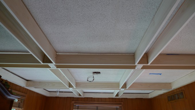 Popular Coffered Ceiling Matched With Brown Wall And Window For Home Design Ideas