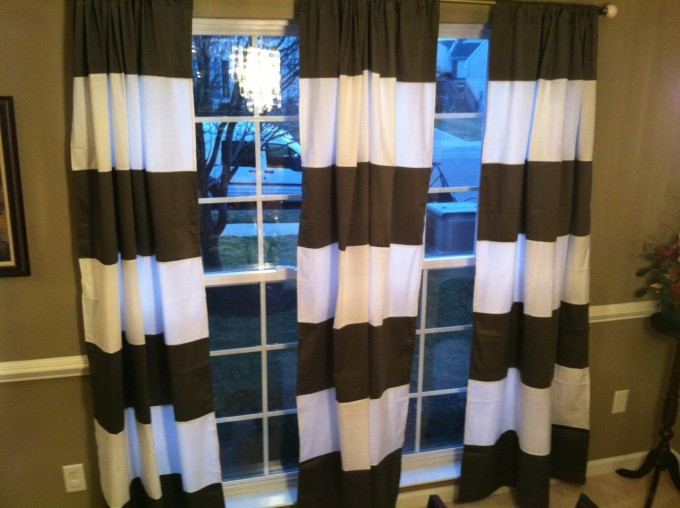 Popular Horizontal Striped Curtains In Brown And White Color With Glass Door