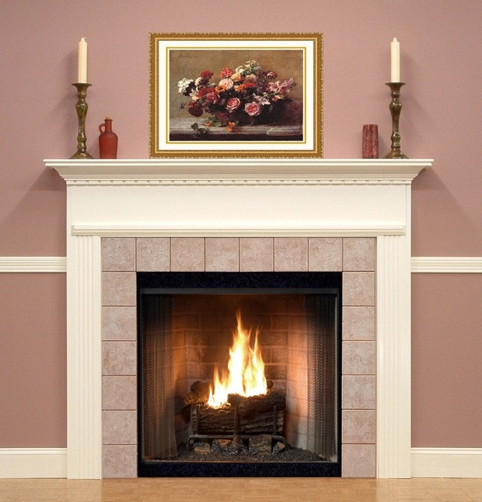 pretty fireplace mantel kits with pink wall and floral picture plus double chandel