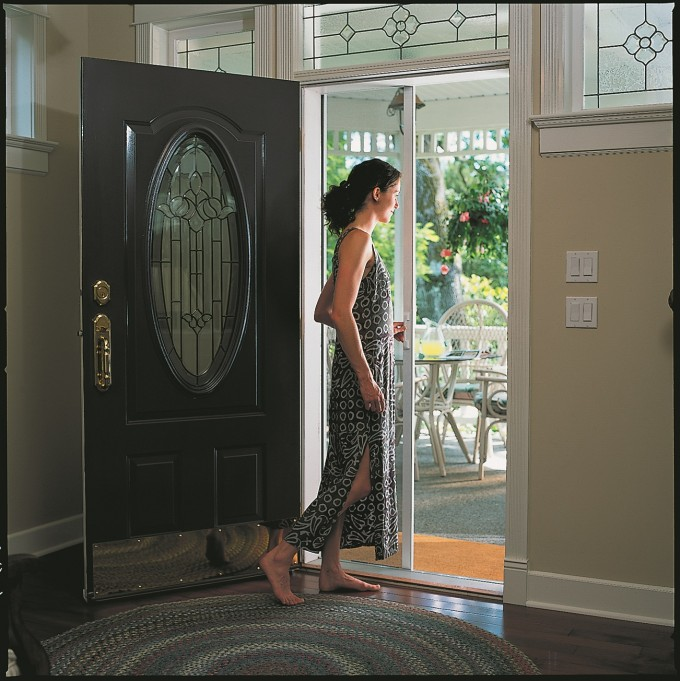 Retractable Screen Doors In Black With Ornament On It Glass And Golden Handle
