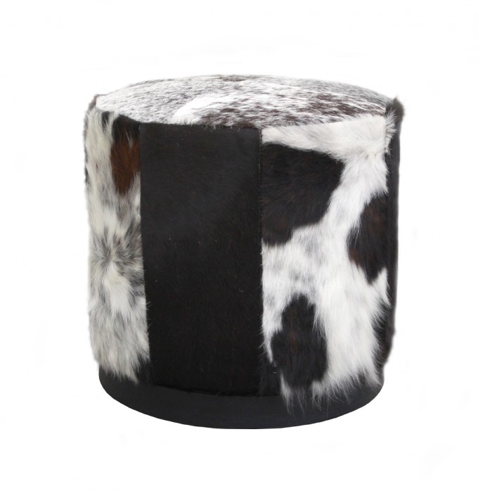 Round Cowhide Ottoman For Corner Of Hotel Room