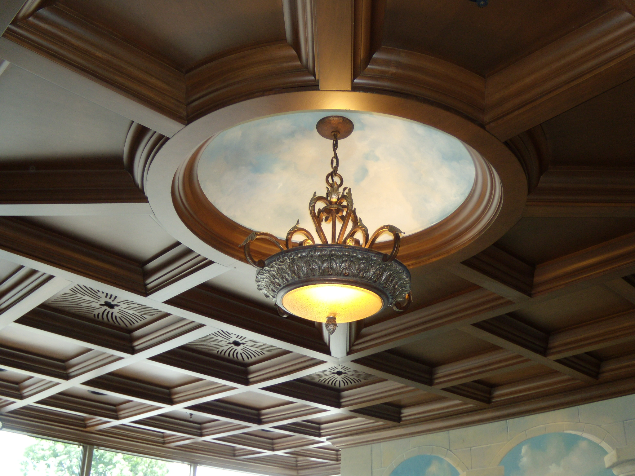 royal deisgn of coffered ceiling with chandelier for luxury ceiling ideas