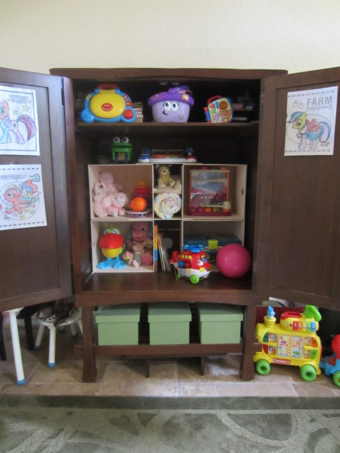Rustic Wooden Ikea Toy Storage With Wooden Door And Amini Storage At The Lower Part