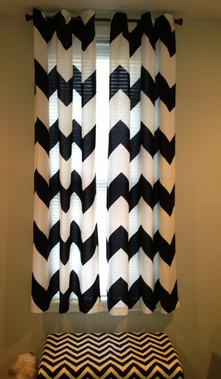 short black & white chevron curtains for bedroom ideas with wheat wall