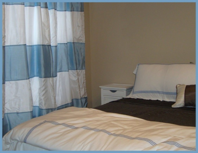 Silky Horizontal Striped Curtains In Blue And White Matched With King Sized Bed And White Pillow And Bed Cover