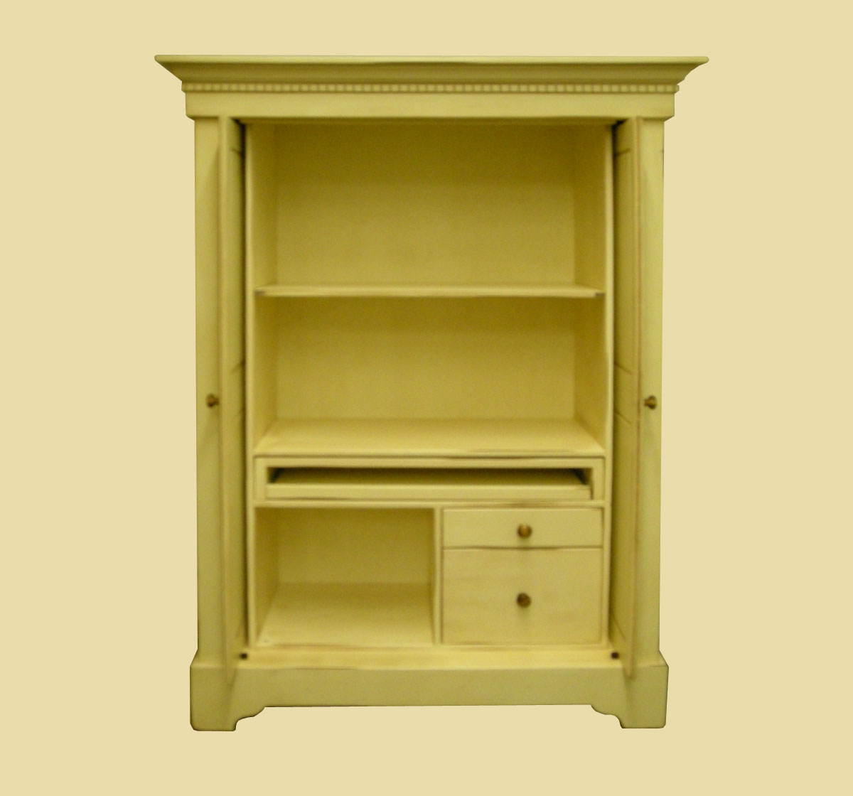 simple computer armoire in green with mini tv stand