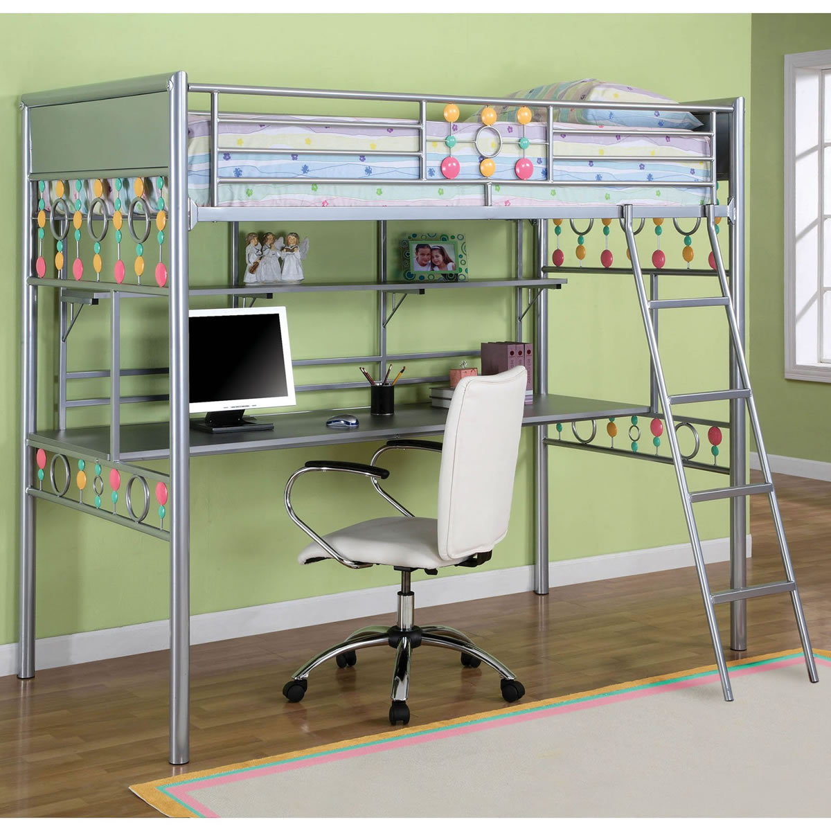 Simple Loft Beds For Teens With Desk Green Wall And Wooden Floor