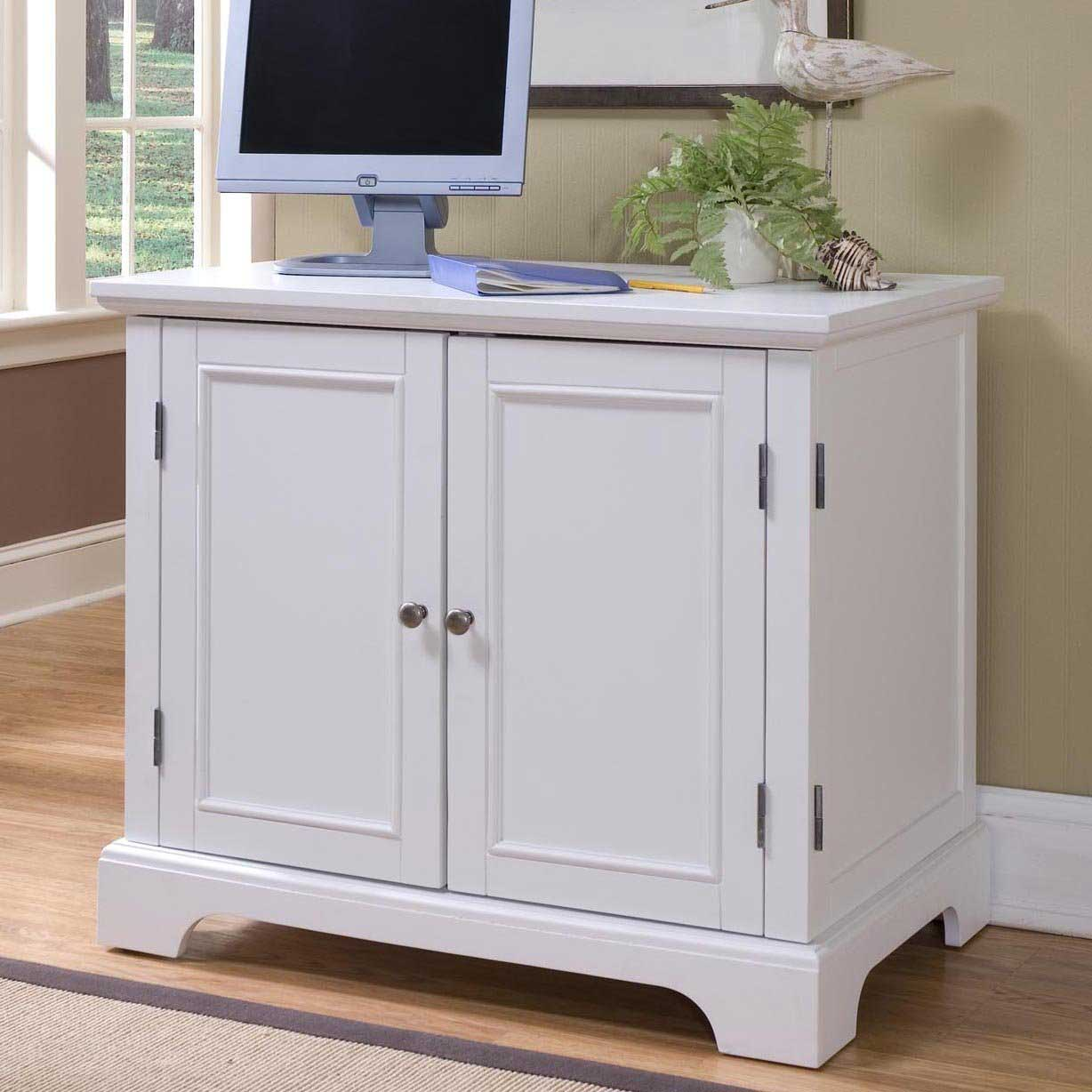 simple white Computer Armoire with duck ornament and white window