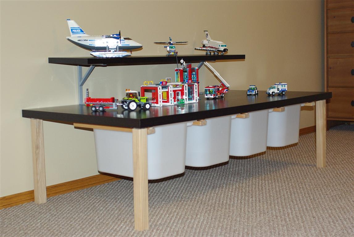 smart ikea toy storage with toy plane and toy car with cream wall