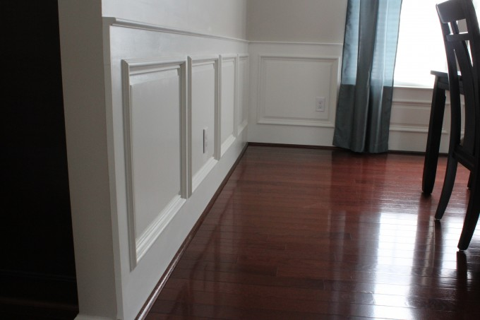 Snow Wainscoting Ideas And Snow Wall With Wooden Floor And Grey Curtain