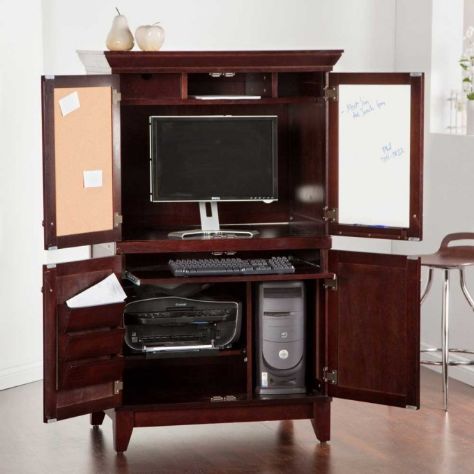 Solid Wood Coffee Computer Armoires With Wooden Floor For Home Office Decor Ideas