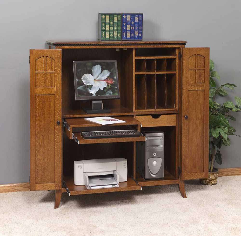 solid wood computer armoire with legs and carpet