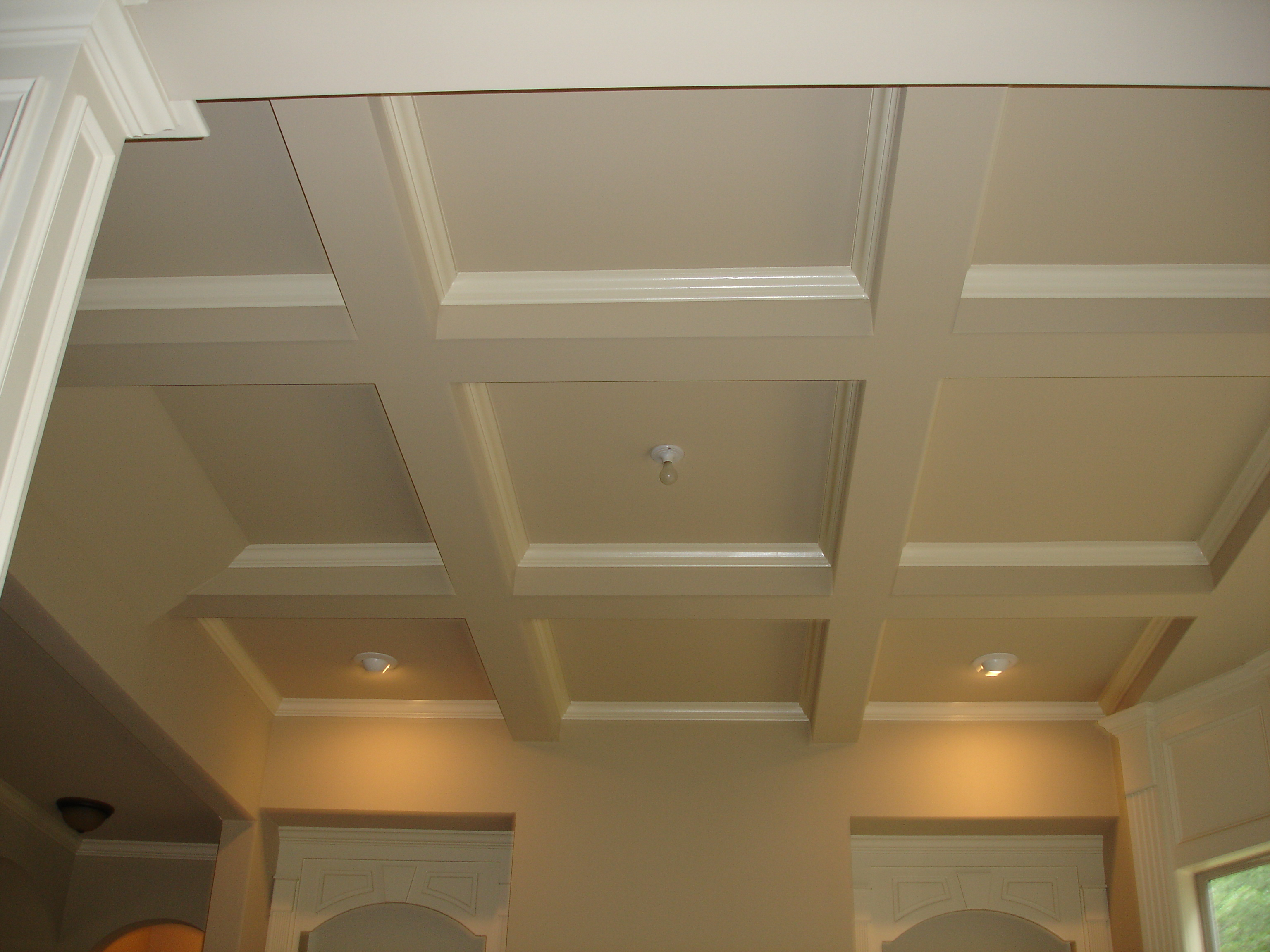 Standard Coffered Ceiling with lights matched with white wall and double door