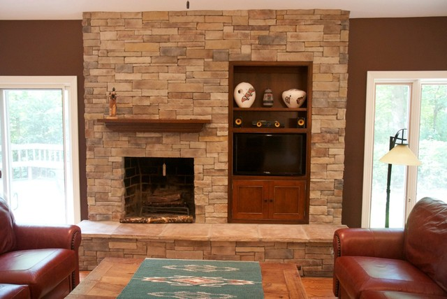 stone veneer panels fireplace with tv stand plus sofa set