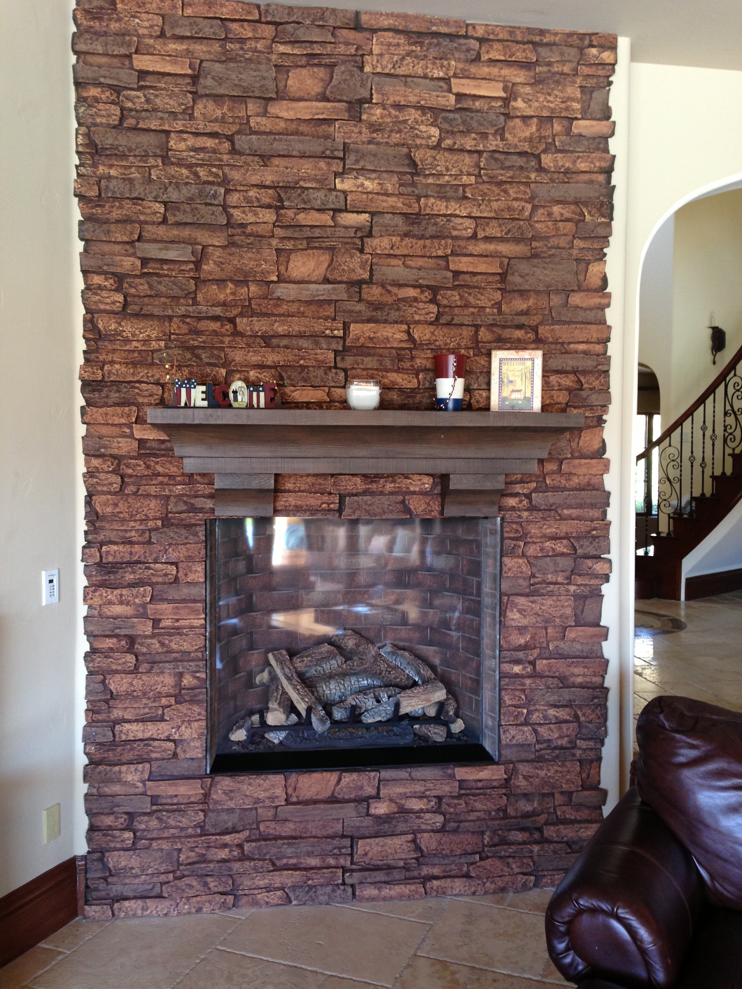Stone Veneer Panels for fireplace matcehd with white wall
