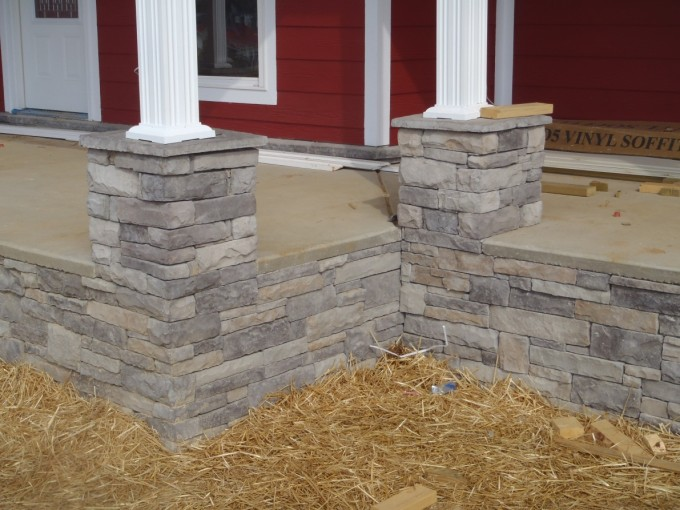 Stone Veneer Panels For Poles For Red And White Theme Of House
