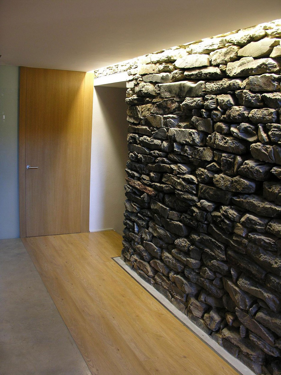 Stone Veneer panels with wooden door and wooden floor for home design ideas