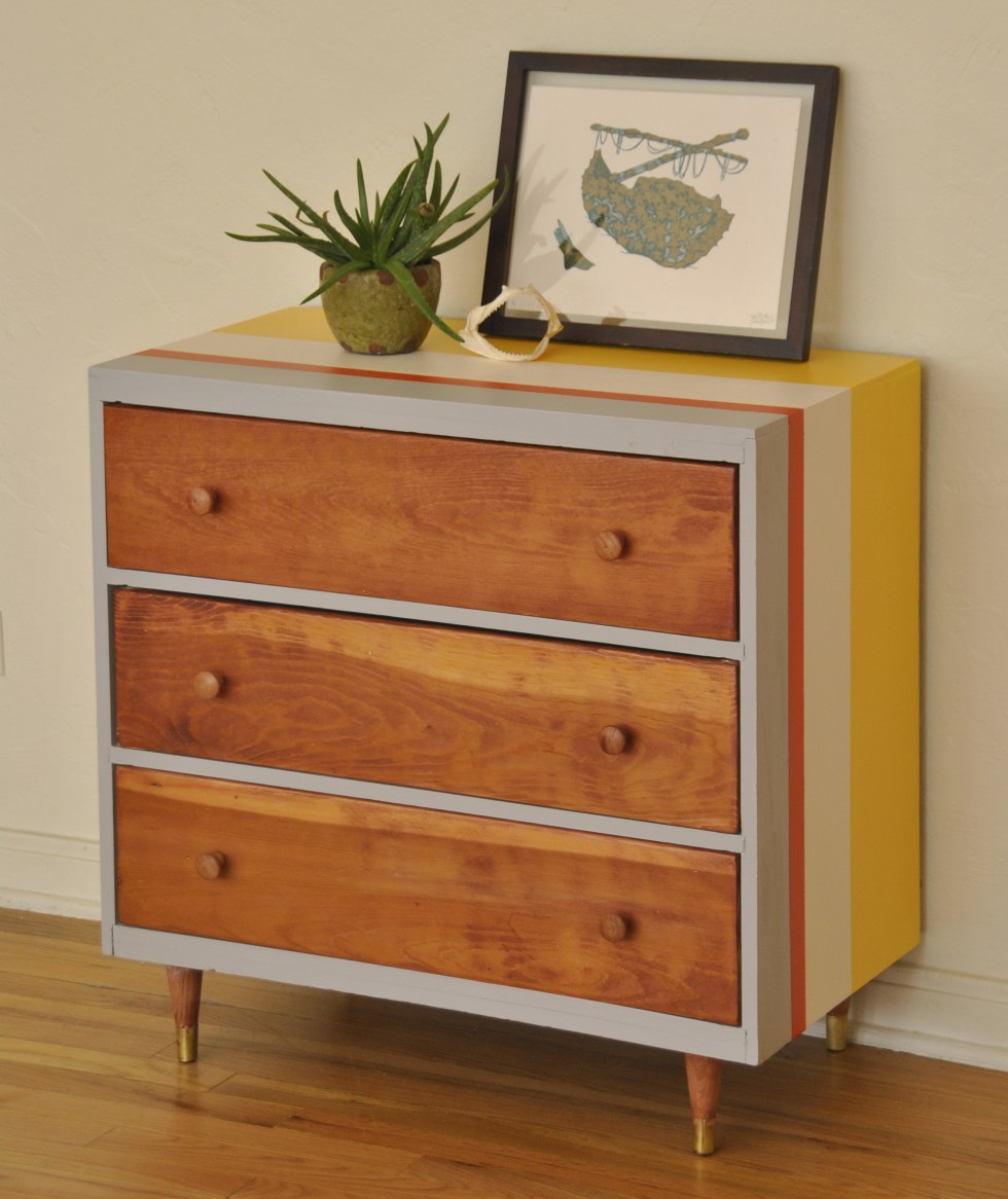 Striped Mid Century Dresser with three drawer plus stripped motif and picture above