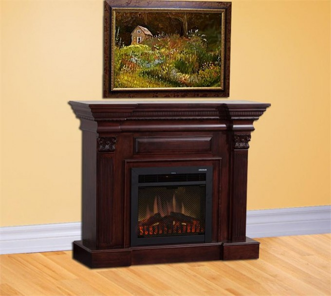 Stunning Fireplace Mantel Kits With Beautiful Picture On Yellow Wall And Wooden Floor
