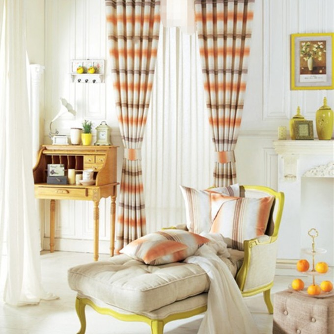 Sweety Horizontal Striped Curtains With Linen Material And Colorful Goods Around