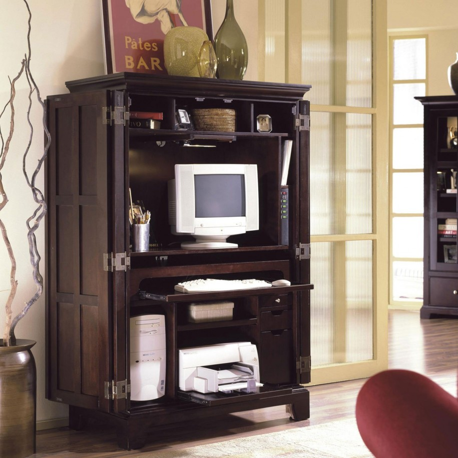 Traditional Wooden computer Armoire with computer and frame