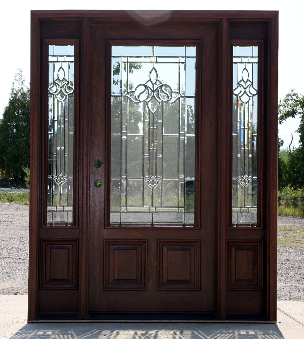 unfinished yet Mahogany entry door with sidelights