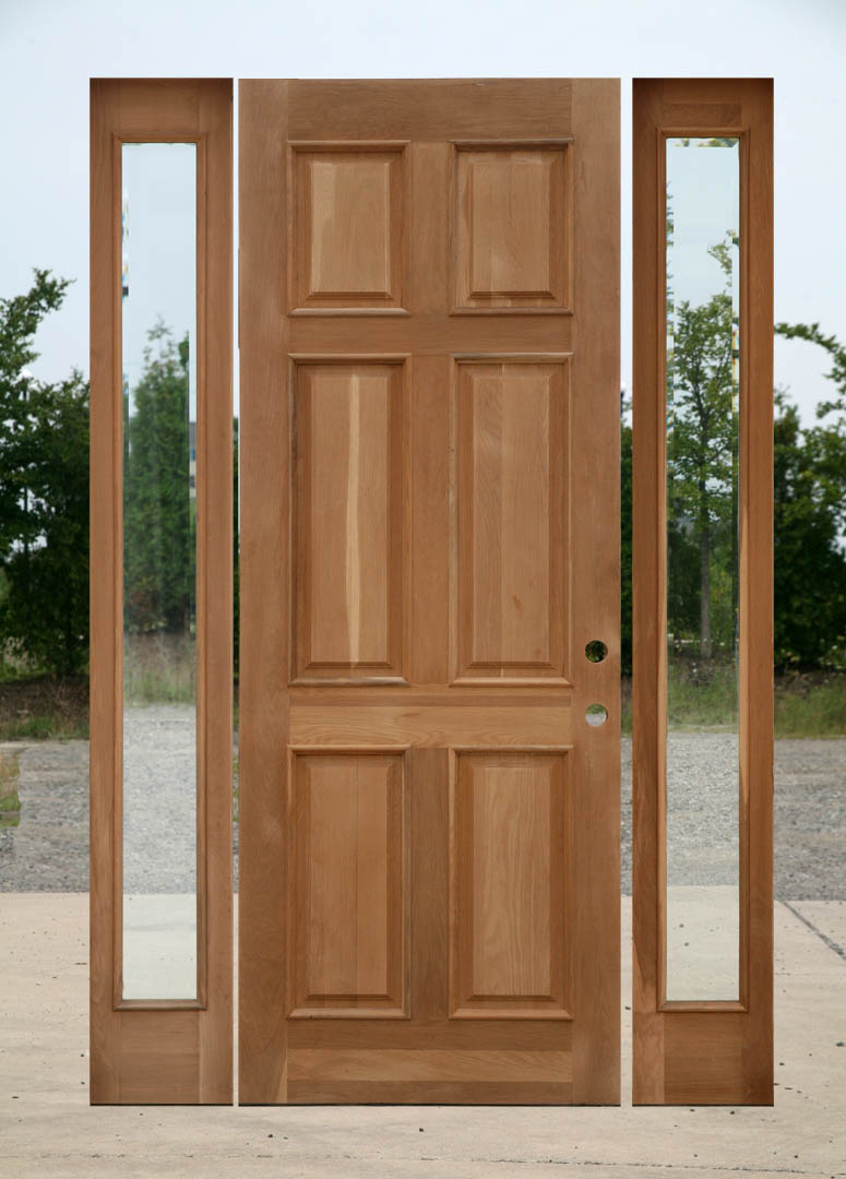 unfinnished entry door with sidelights with wood material