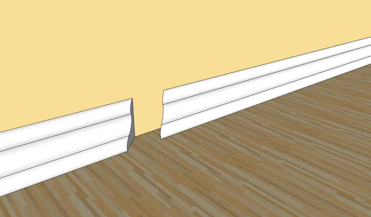 How to cut base molding in place - Unfused Baseboard Molding With Yellow Wall And Wooden Floor