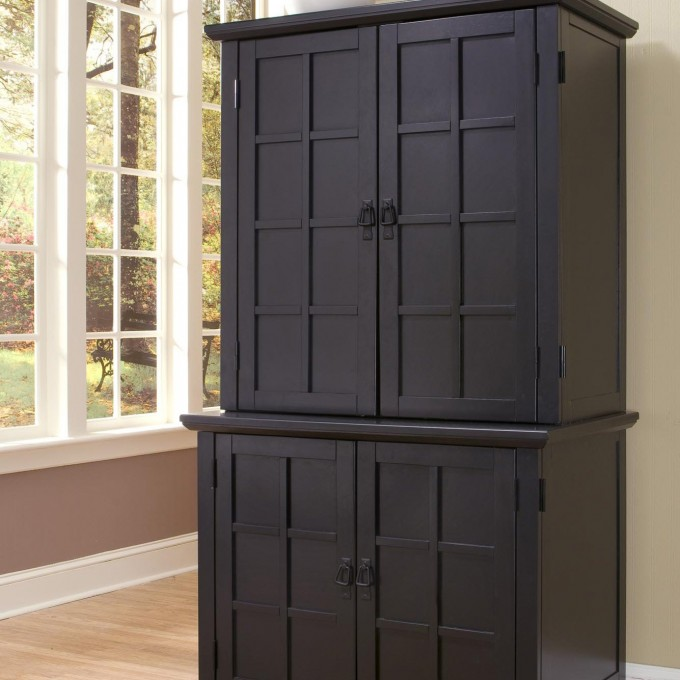 Unique Black Computer Armoire With White Window And Wooden Floor