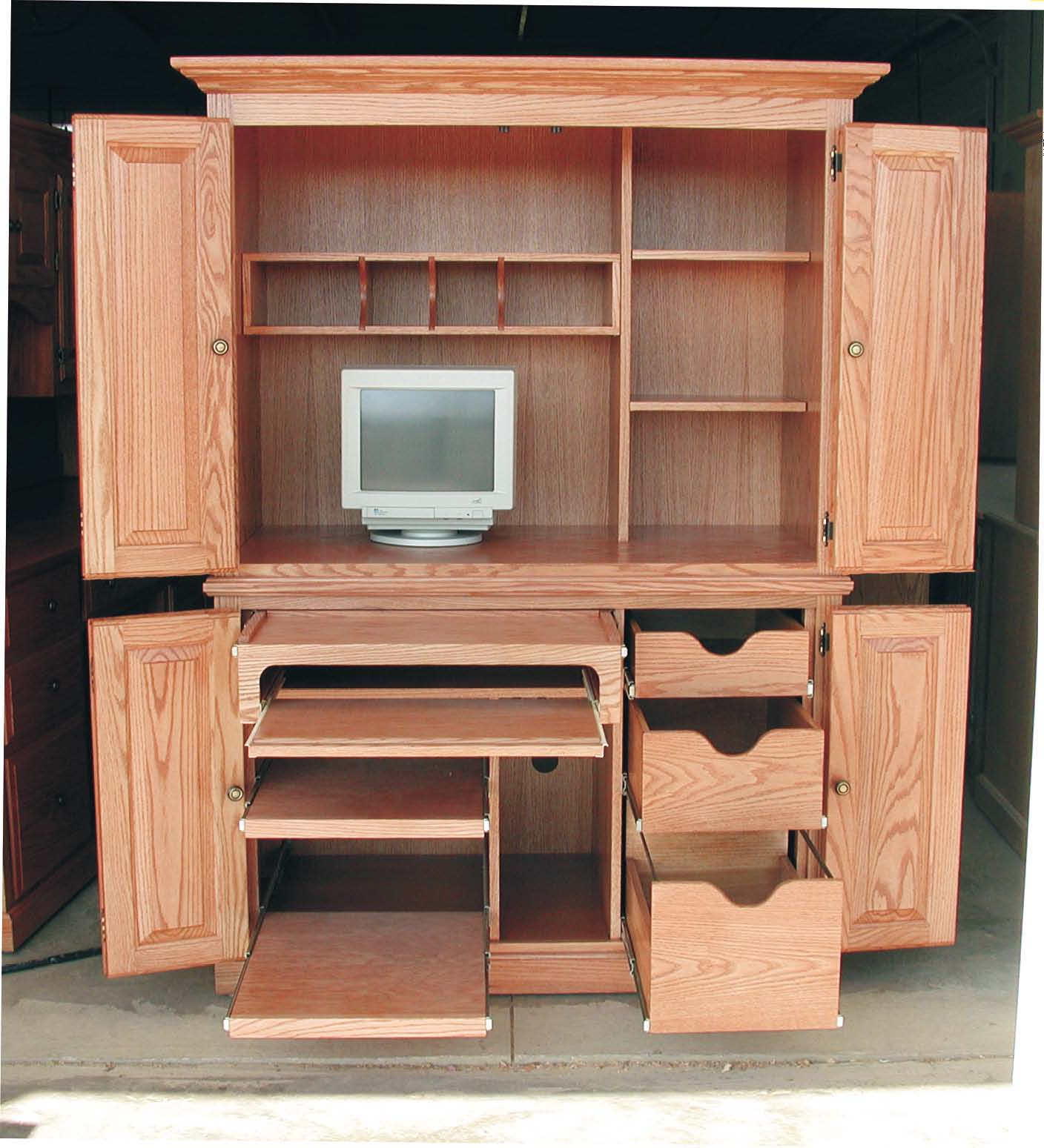 Unique Computer Armoire with drawers for your work area ideas