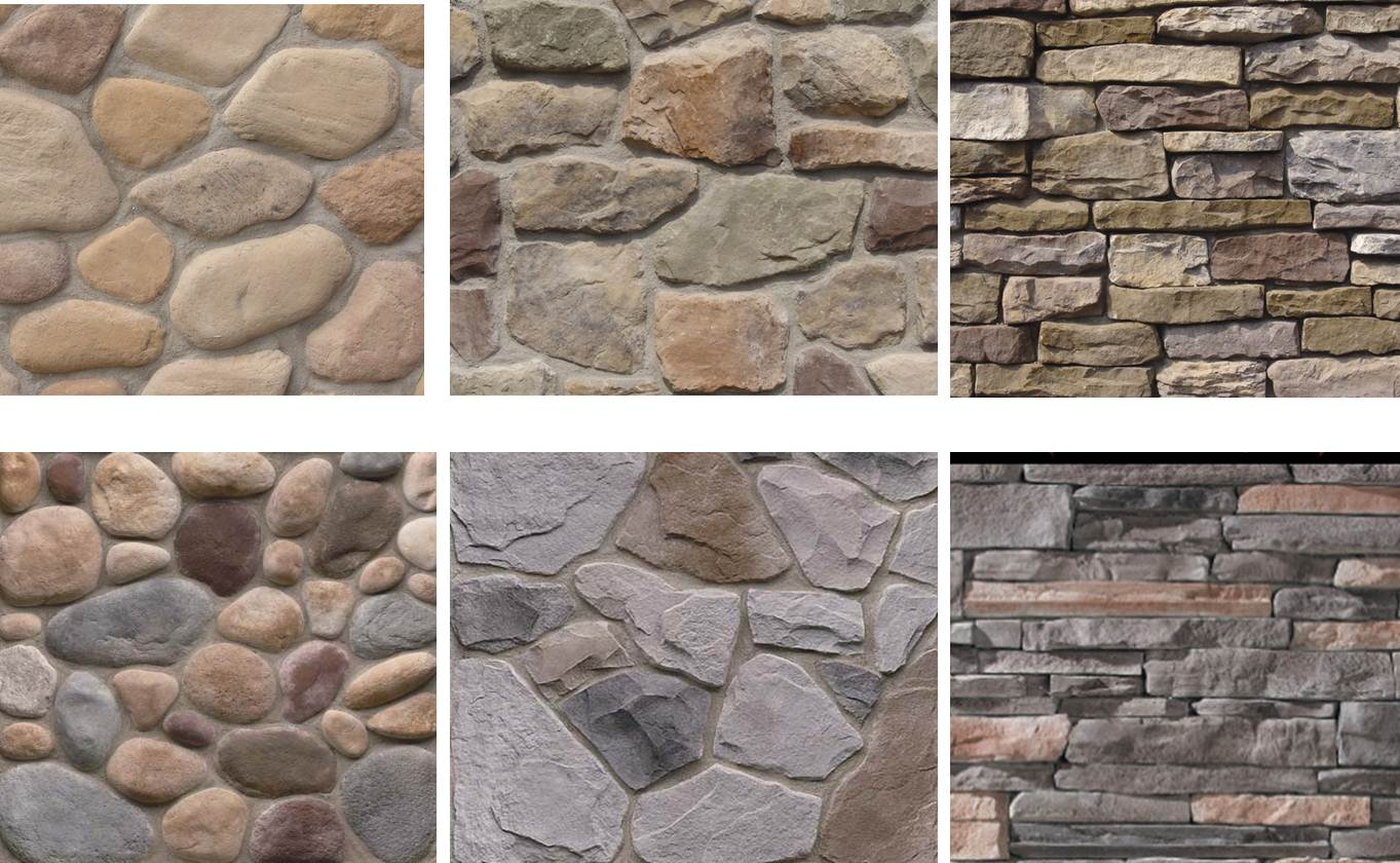 various color and shape of Stone Veneer panels forinterior or exterior decor ideas
