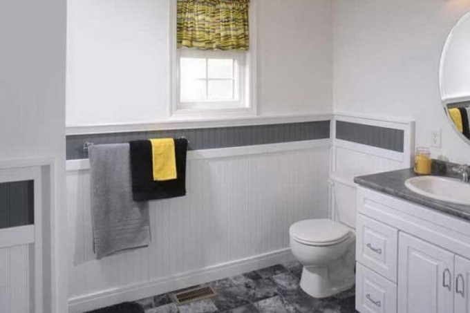 Wainscoting Ideas For Bathroom With Single Hung Window And Black And White Wall Theme