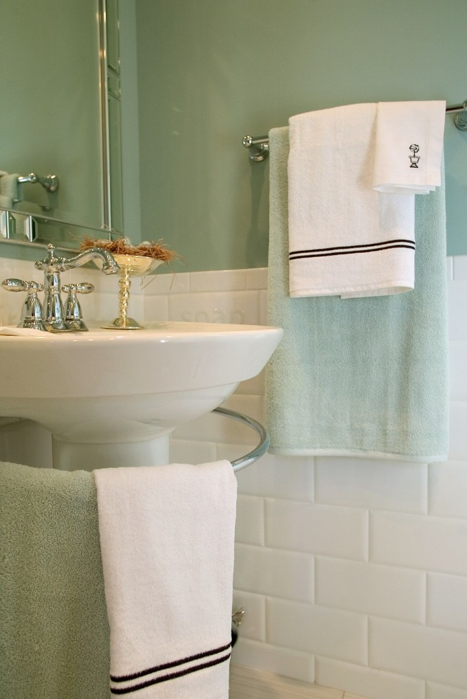 Wainscoting Ideas With Green Wall And Wastafel And Ring Towel For Bathroom Inspiration
