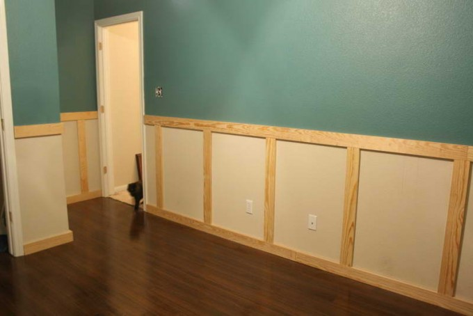 Wainscoting Ideas With Lightseagreen Wall And White Door Plus Wooden Floor