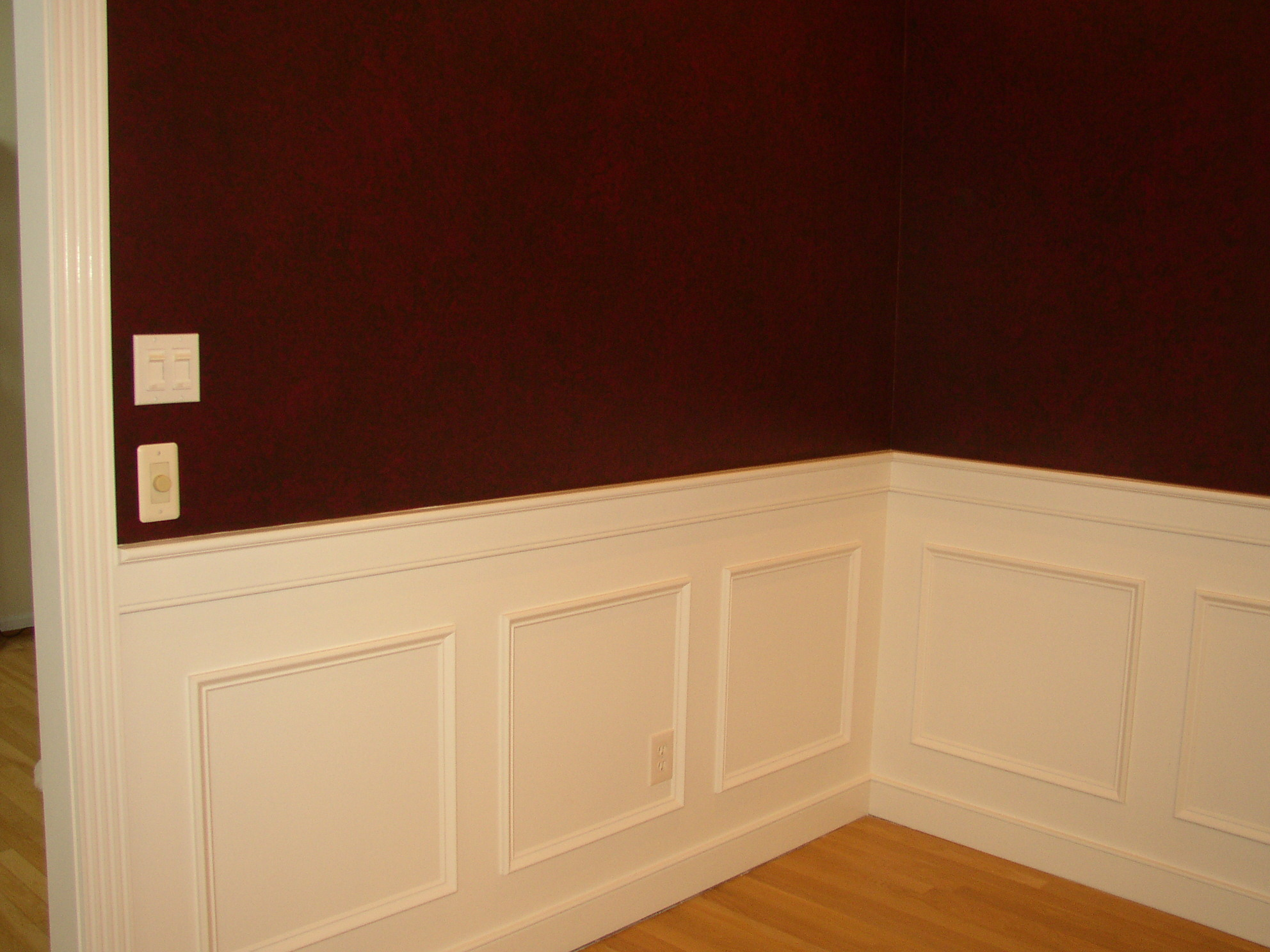 Wainscoting Ideas With Maroon Wall And Wooden Floor For Living Room Interior  Design Ideas
