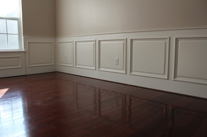 Wainscoting Ideas With Natural Brown Wooden Floor For Dining Room
