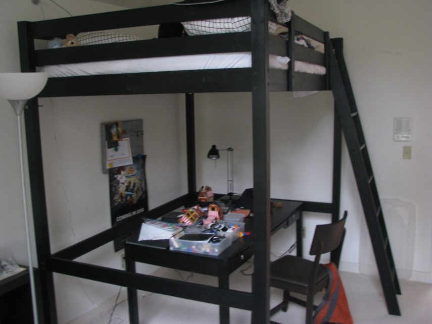 Well Liked Black Iron Ikea Loft Beds for teens With Laptop Table Feat chair on laminate wood floors