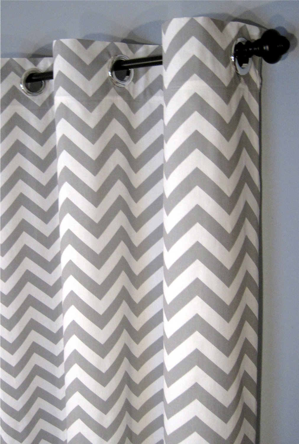 white and grey chevron curtains with white wall for home interior ideas