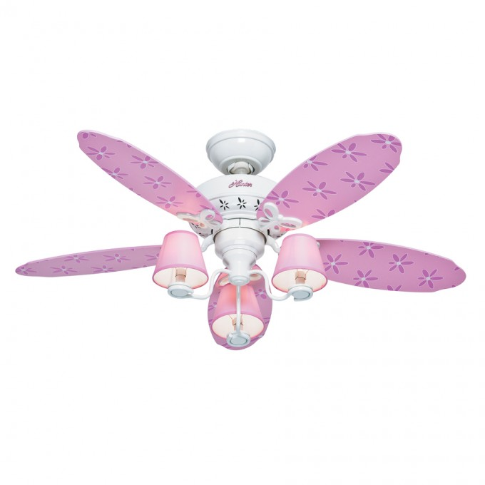 White And Pink Lowes Ceiling Fans With Flower Image For Girls Room Ceiling Ideas