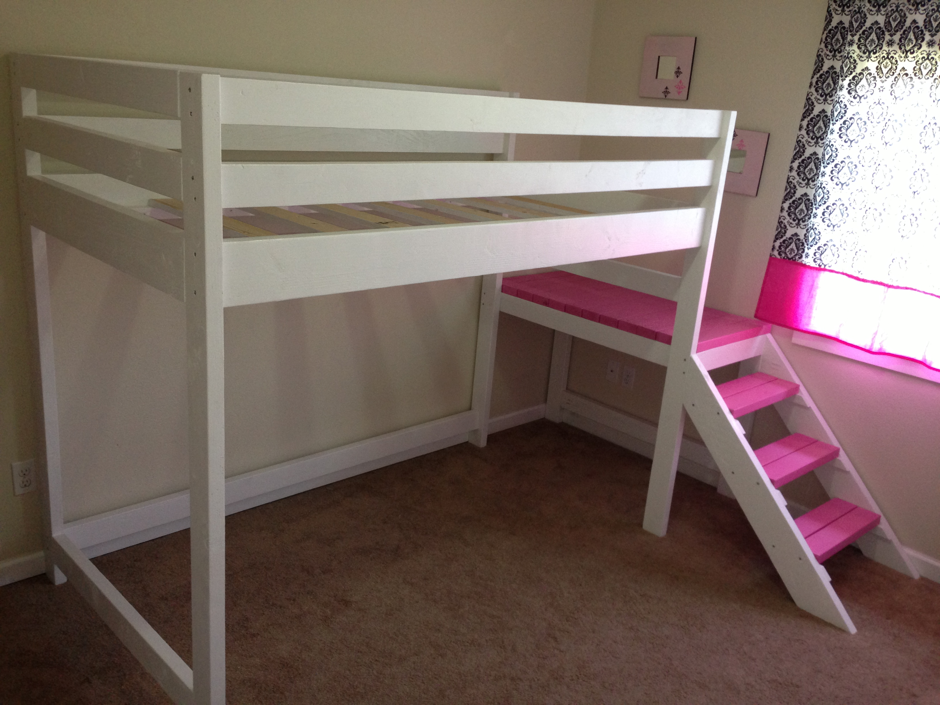 white and pink theme of loft beds for teen with chocolate floor
