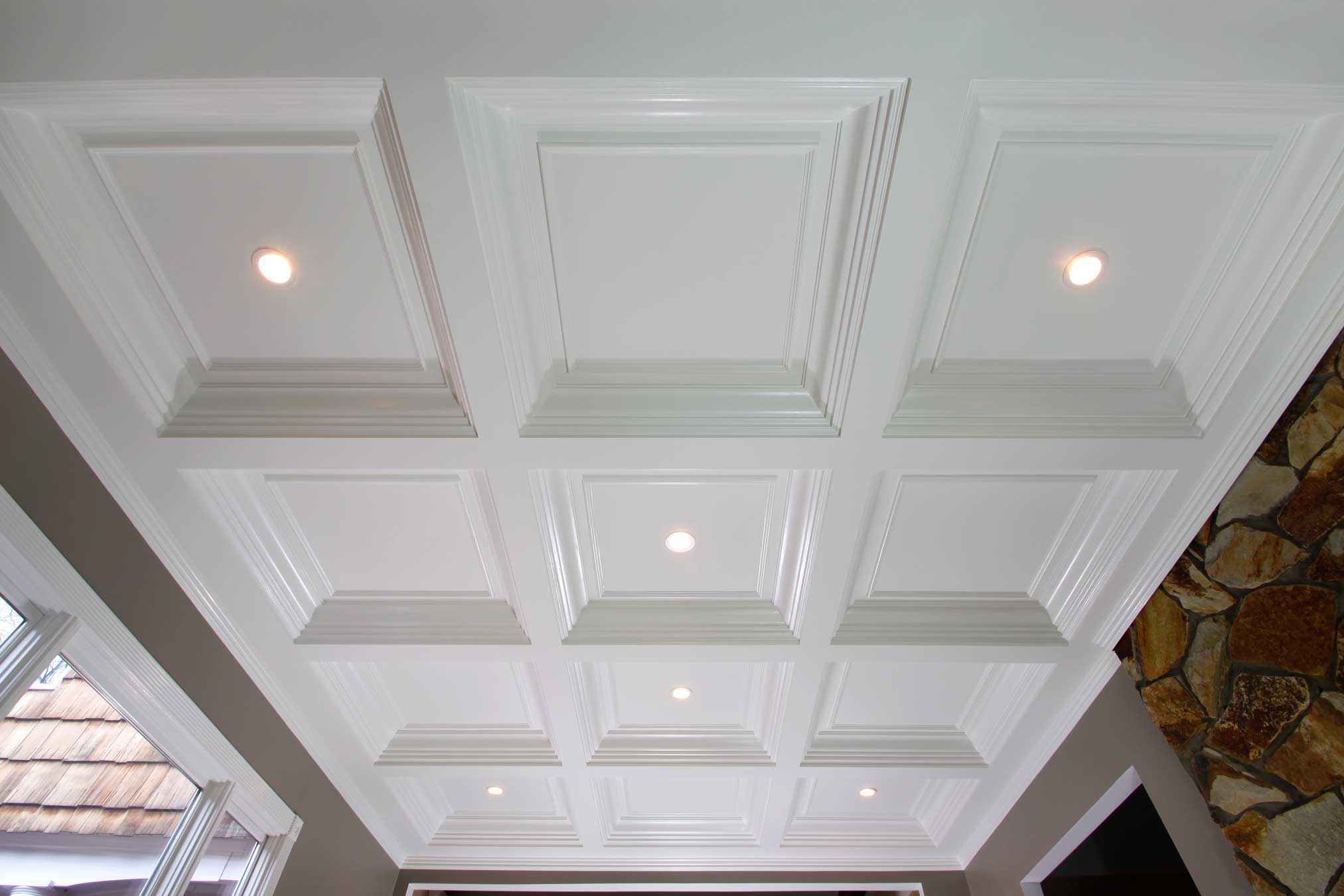 white Coffered Ceiling with lights for your ceiling ideas