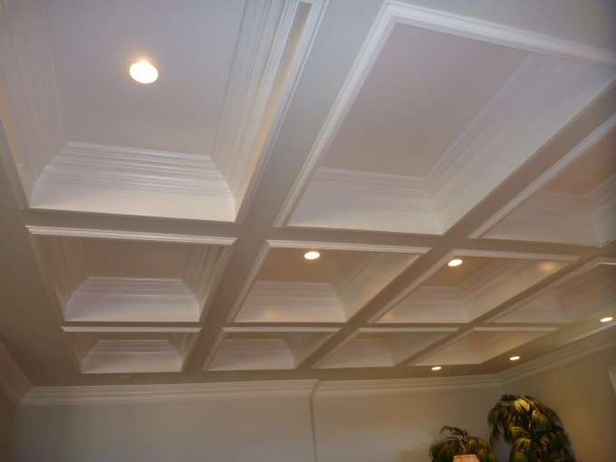 White Coffered Ceilings With Lights Combained With White Wall For More Beautiful Ceiling