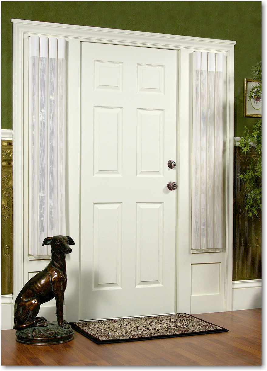 white Entry Door with Sidelights matched with green wall with baseboard molding