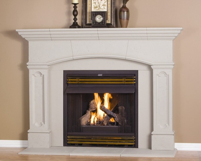 White Fireplace Mantel Kits With Tan Wall And Table Clock