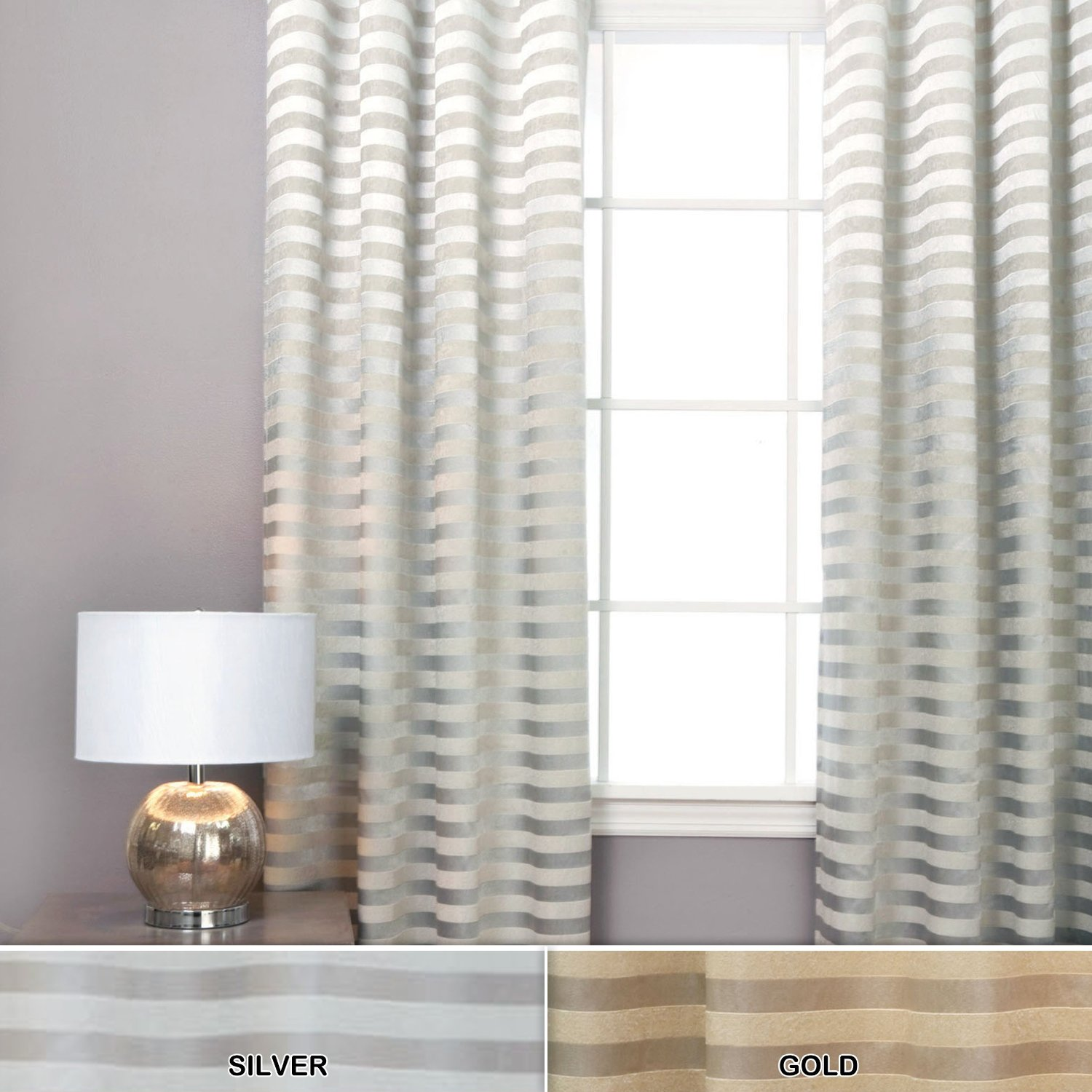 White Horizontal Striped curtains with grey wall and table standing lamp