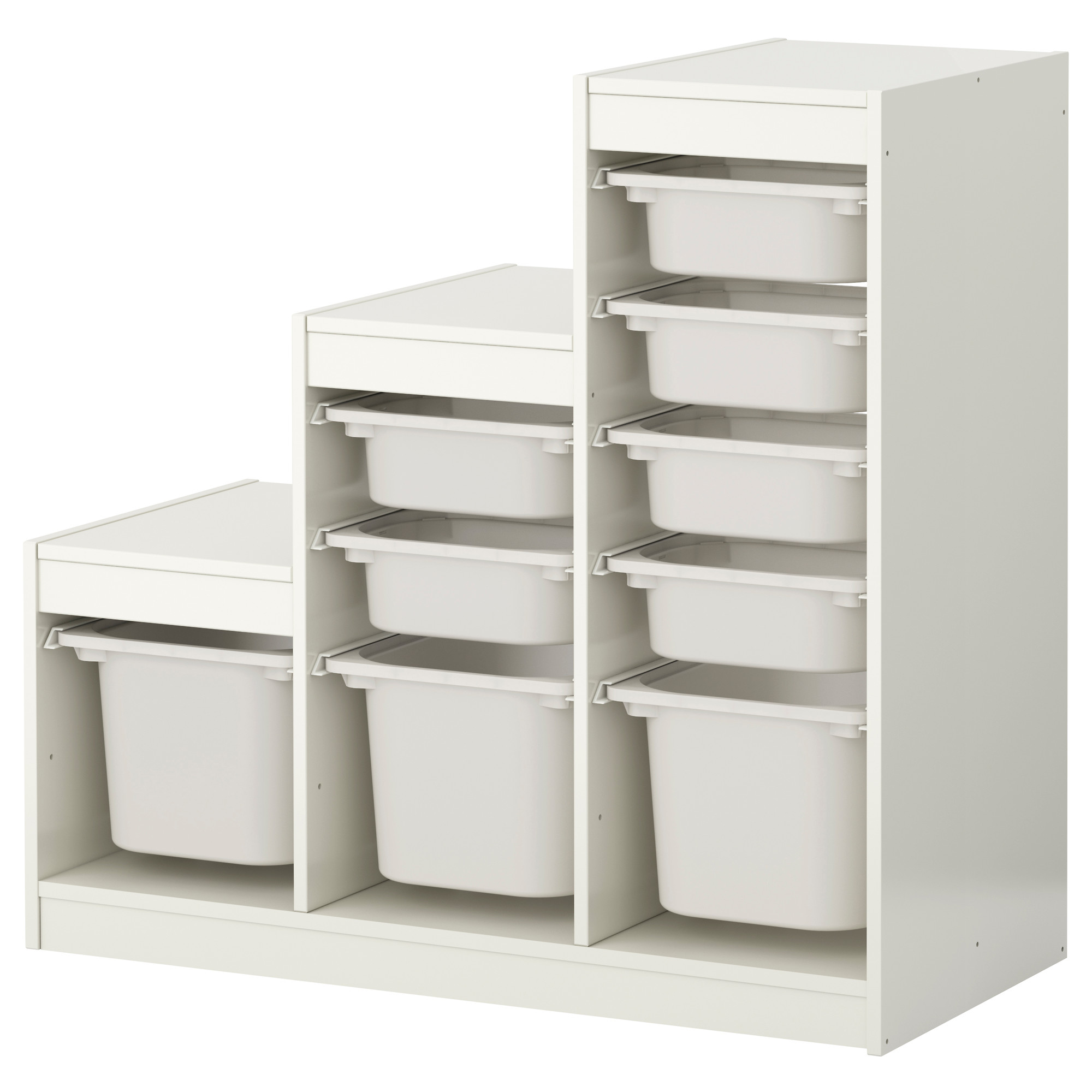 white ikea toy storage with white boxes