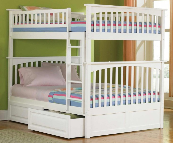 White Loft Beds For Teens With Mini Box For Saving Bedsheet Bellow And Wooden Floor