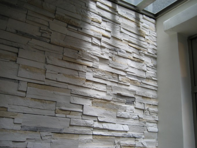 Wide Selection Of Stone Veneer Panels With White Wall