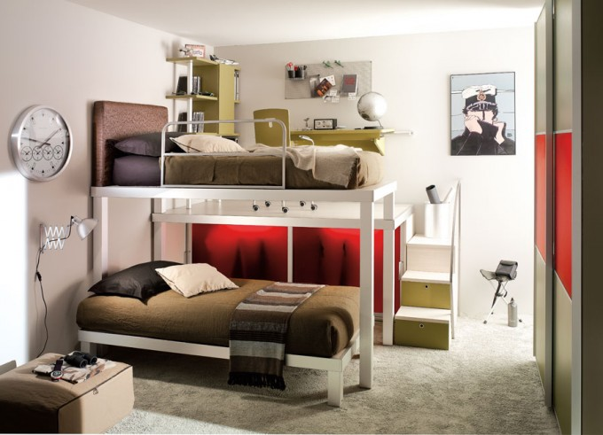 Wonderful Double Loft Beds For Teens With White Wall And Study Area Above